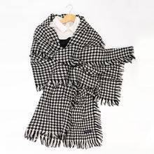 【暖冬推荐】纯羊毛格纹大围巾 流苏围巾披肩