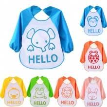 hello动物款卡通罩衣儿童柔软防水食饭兜衣 3件装