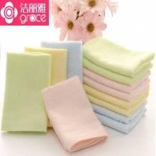 洁丽雅 竹纤维小方巾/幼儿园学生毛巾*4条 颜色随机